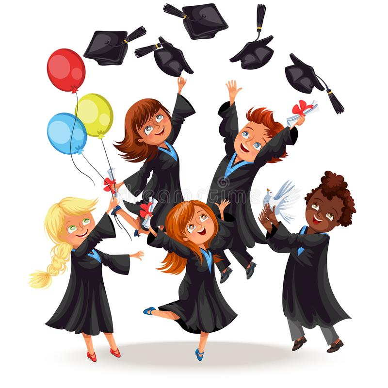 Happy boys and girls on graduation party. Cheerful graduates with ballons throwing caps and smiling vector illustration. Classmates on celebration ceremony vector illustration