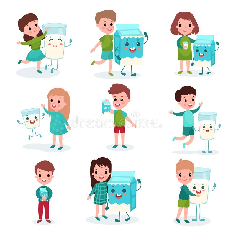 Happy boys and girls playing with humanized boxes and mugs of milk set, healthy food for kids cartoon vector stock illustration