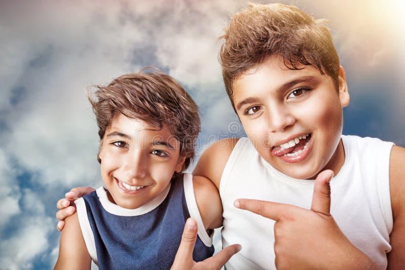 Happy boys portrait stock image