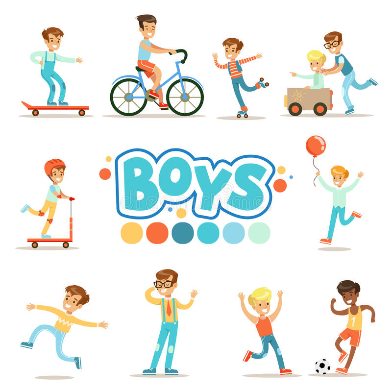 Happy Boys And Their Expected Classic Behavior With Active Games And Sport Practices Set Of Traditional Male Kid Role stock illustration