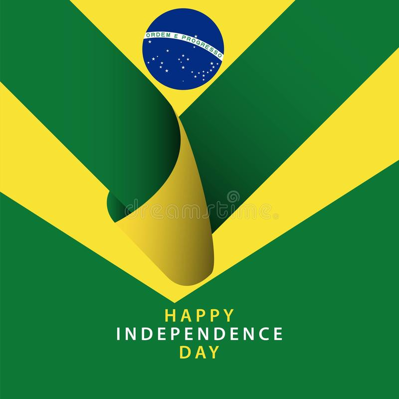 Happy Brazil Independence Day Vector Template Design Illustrator. Flag background pattern illustration brasil country blue abstract graphic symbol art white stock illustration