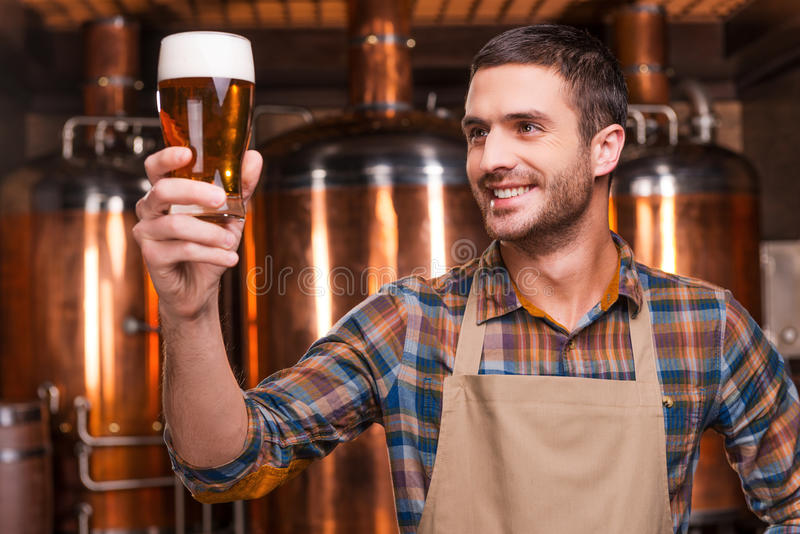 Happy brewer. Happy young male brewer in apron holding glass with beer and looking at it with smile while standing in front of metal containers stock image