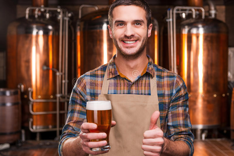 Happy brewer. stock image