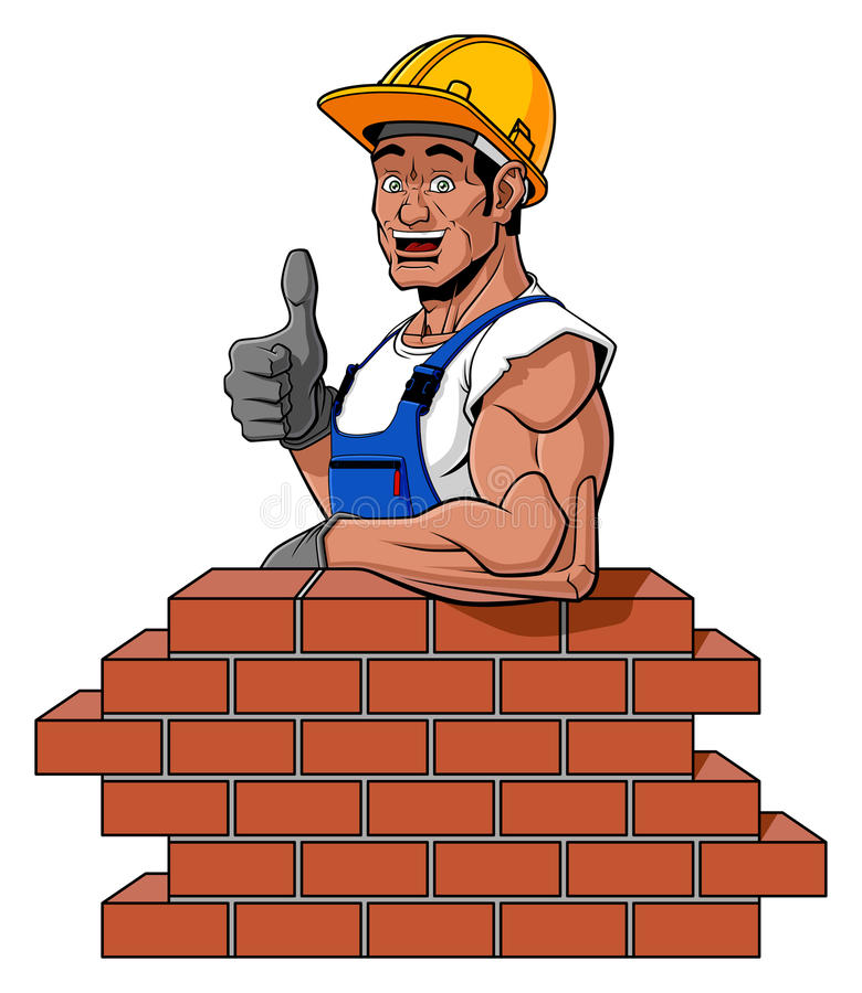 Happy bricklayer stock photos