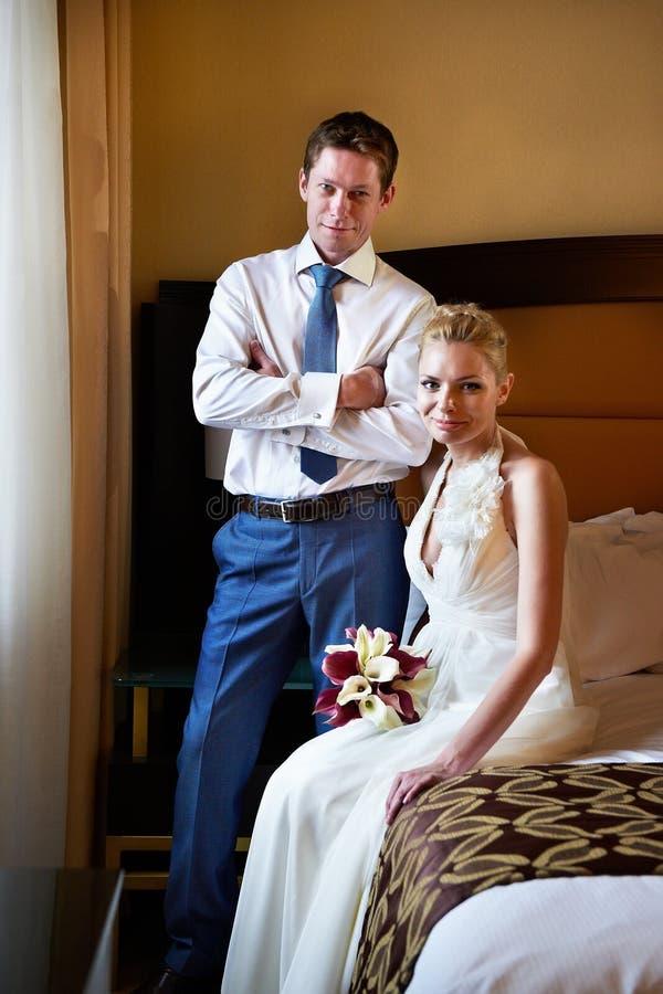 Download Happy Bride And Groom In Bedroom Stock Image - Image: 27771013