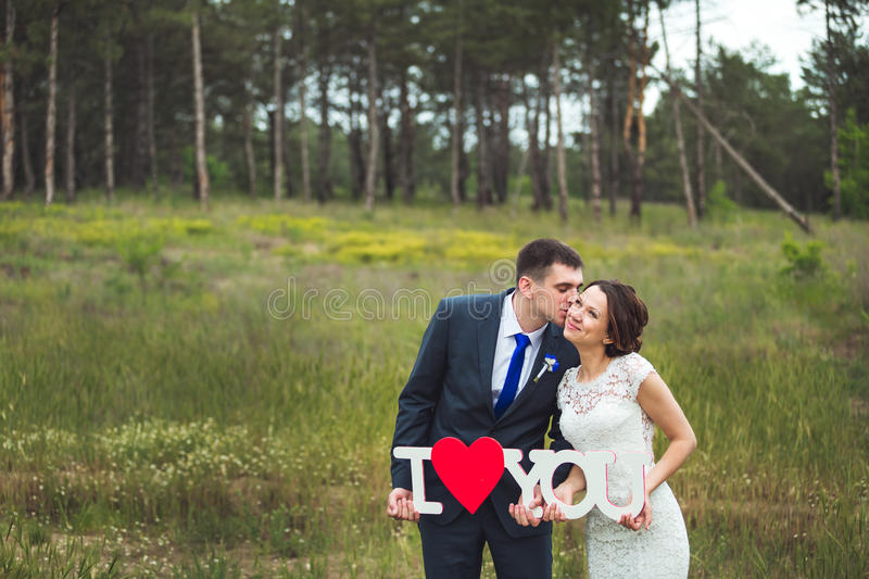 Happy bride and groom celebrating wedding day. Kissing married couple. Long family life concept royalty free stock photography