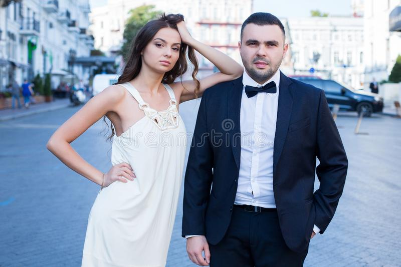 Happy bride and groom. Cheerful married couple. Just married couple embraced. Wedding couple.  stock photography
