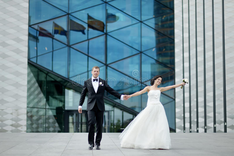 Bride And Groom In A City Royalty Free Stock Image