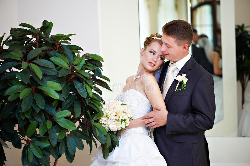 Happy bride and groom about green tree stock image