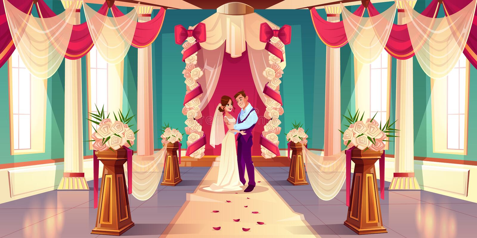 Newlyweds on wedding ceremony cartoon vector. Happy bride and groom hugging, looking in each other eyes while standing together under wedding arch in decorated vector illustration