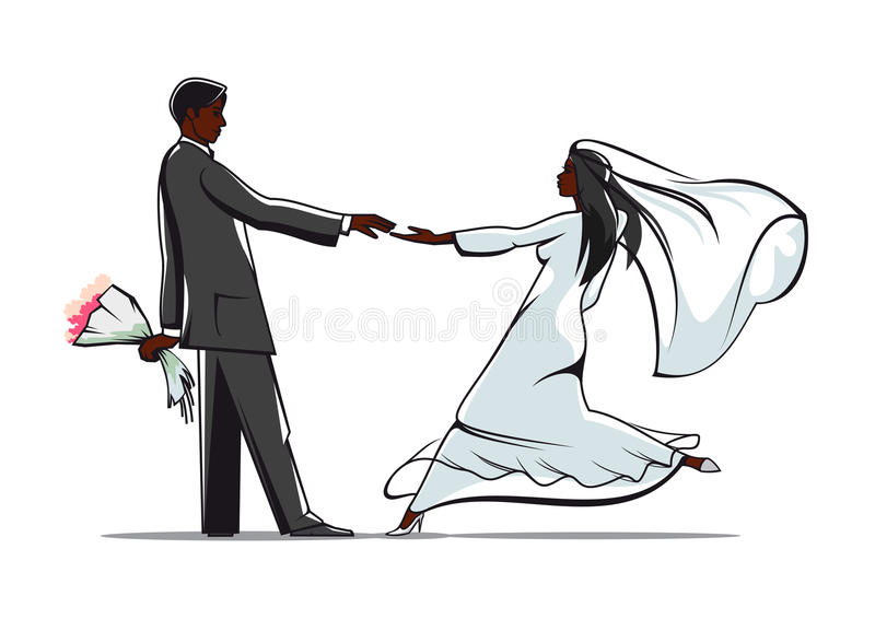 Happy bride and groom joining hands stock vector illustration of download happy bride and groom joining hands stock vector illustration of invitation groom junglespirit Image collections