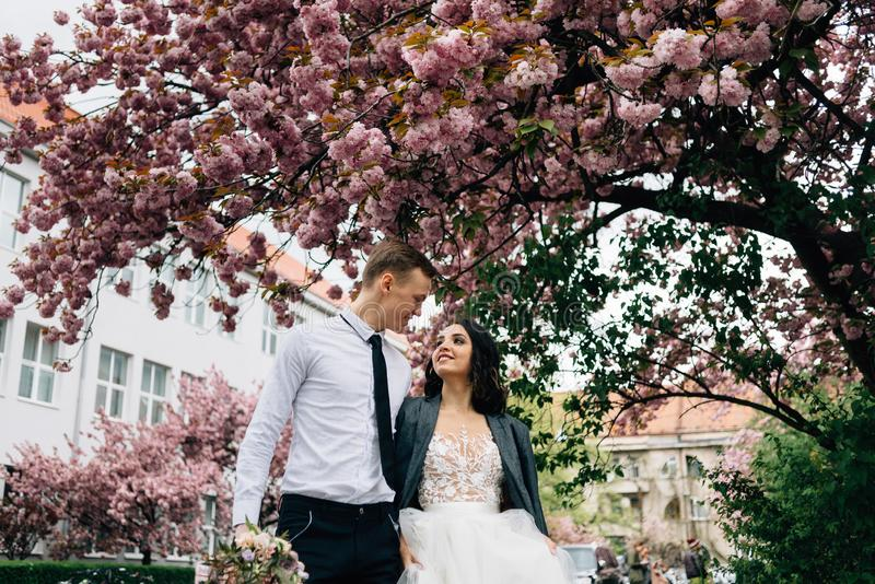 Happy bride and groom walk on the wedding day in the park royalty free stock photo