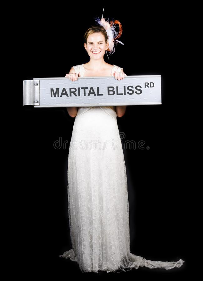 Download Happy Bride On The Road To Marital Bliss Stock Photo - Image: 26994744