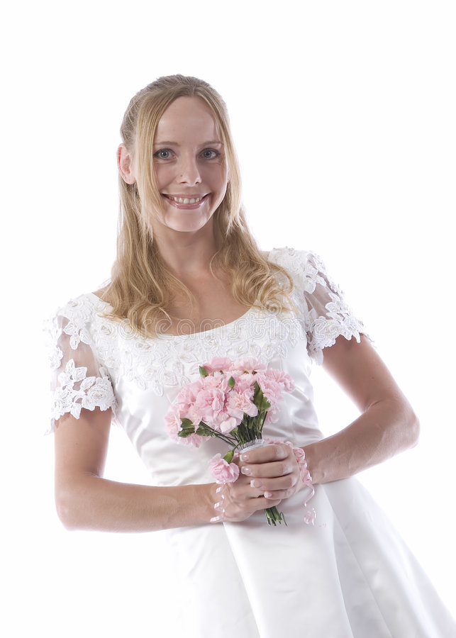 Happy bride in wedding dress. Happy young bride in traditional white wedding dress with bouquet; isolated on white background stock photos