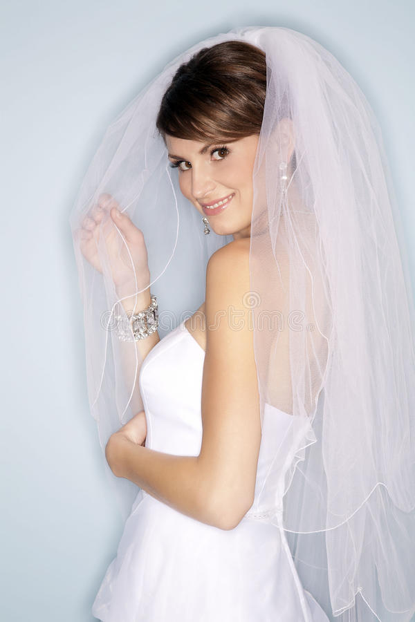 Happy bride in white dress royalty free stock photo