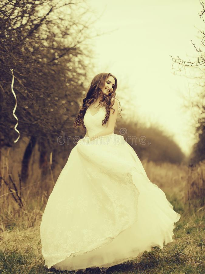 Happy dancing bride royalty free stock photography