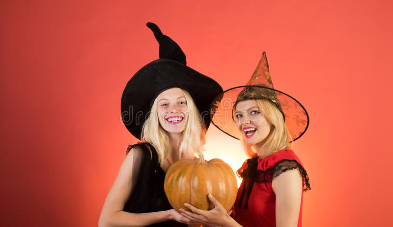Happy brightful positive moments of two stylish girlson orange background. Surprise. Halloween girls through hole in. White wall. Happy people. Halloween copy royalty free stock images