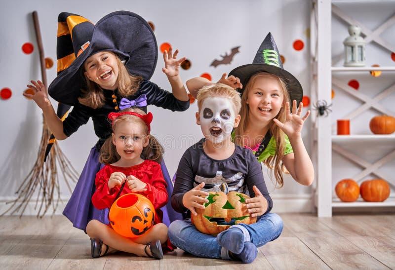 Children on Halloween stock photo
