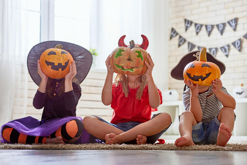 Kids at halloween stock photography