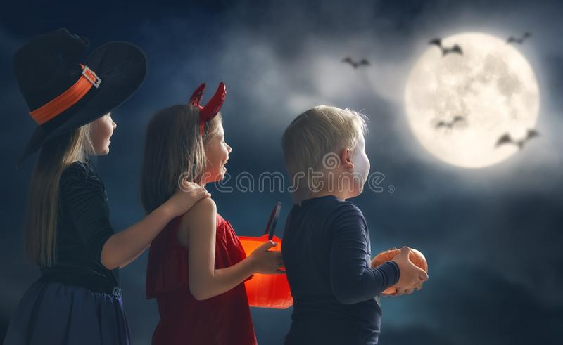 Children on Halloween royalty free stock image