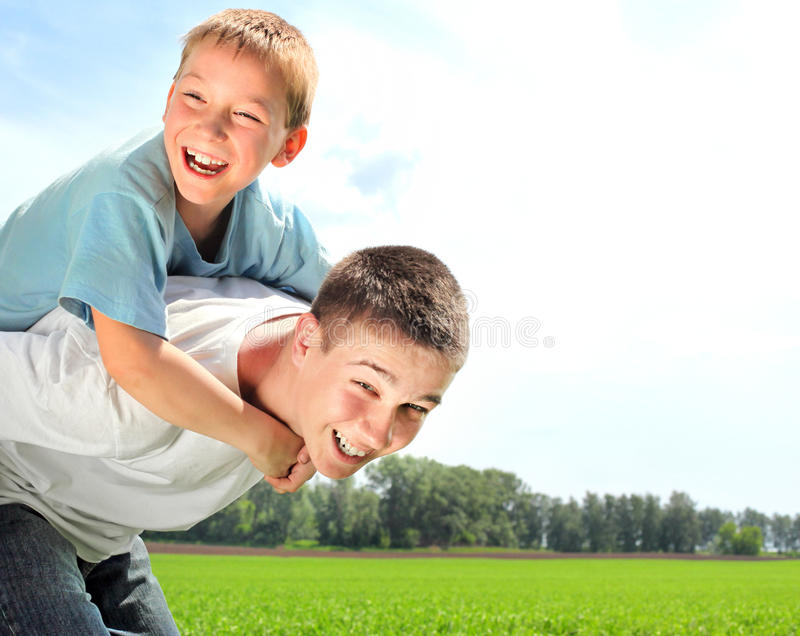 Download Happy brothers stock photo. Image of cute, grassland - 21200618