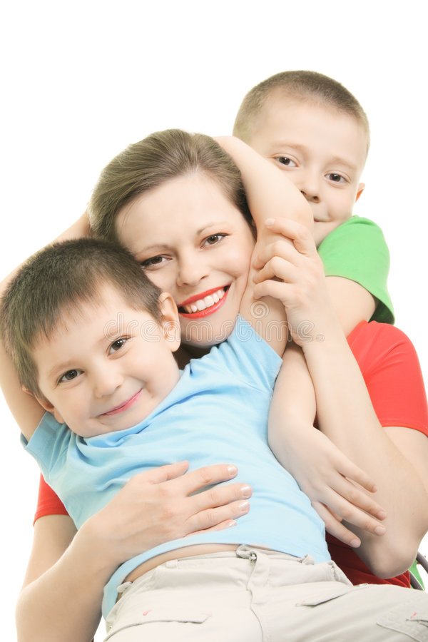 Happy Brothers With Mummy Royalty Free Stock Images