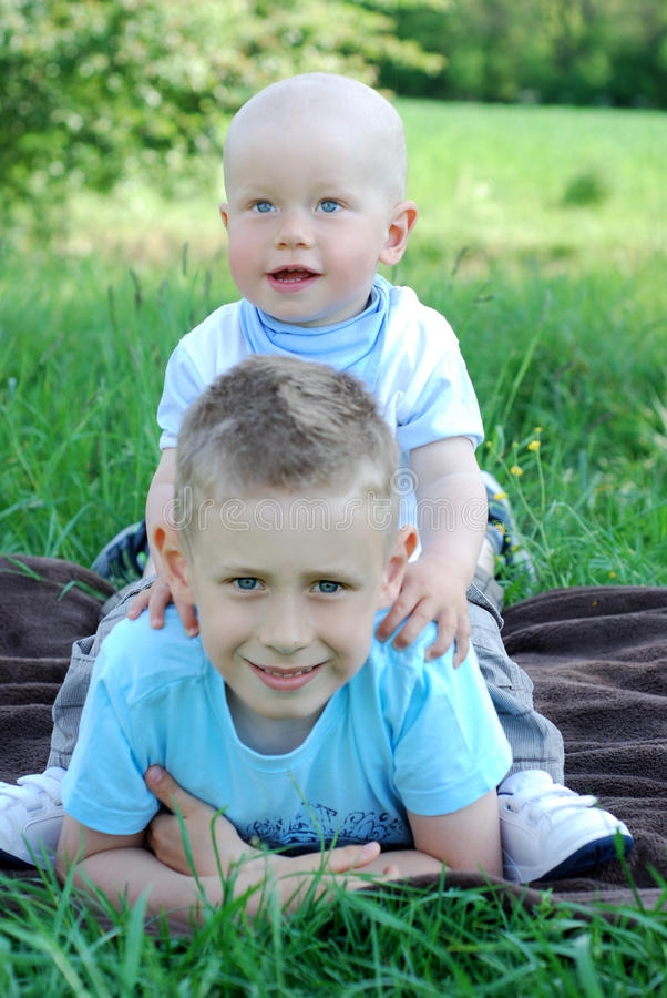 Download Happy Brothers Outdoors In Summer Stock Image - Image: 20310851