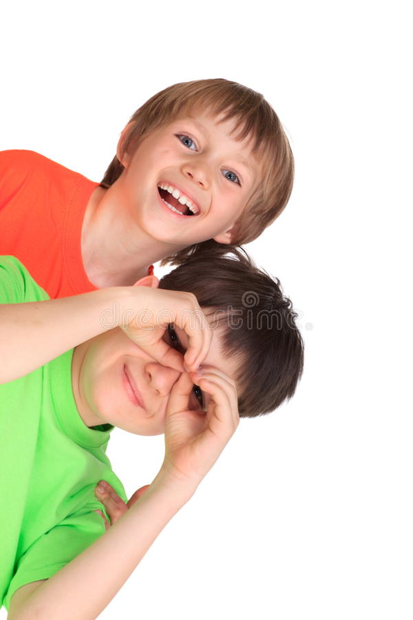 Happy brothers plating royalty free stock image