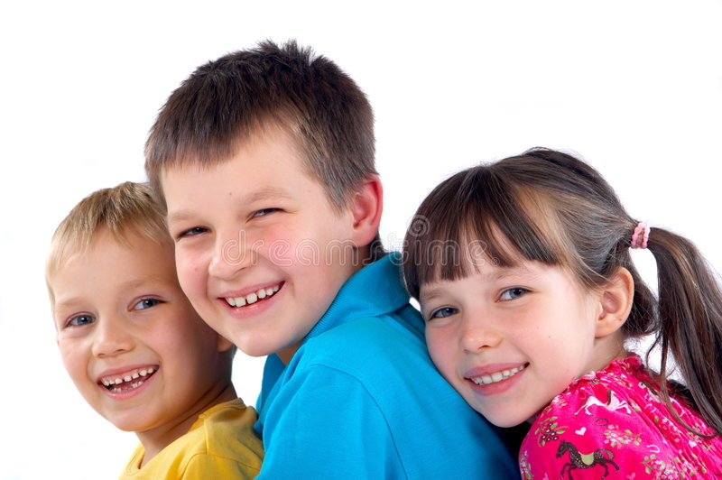 Happy brothers and sister royalty free stock photos