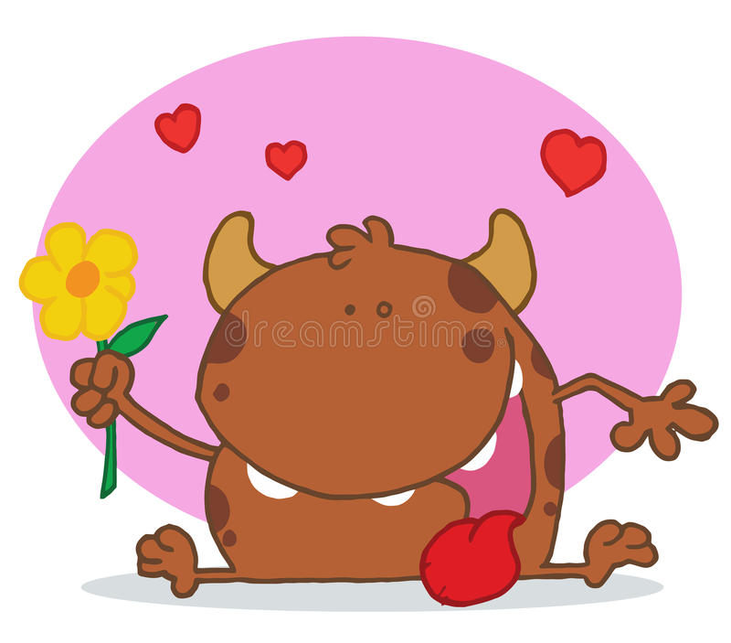 Download Happy Brown Monster Holding A Yellow Flower Stock Vector - Image: 16160819