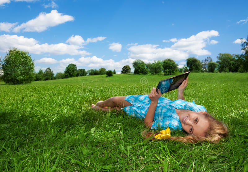 Happy browsing in the park royalty free stock photos