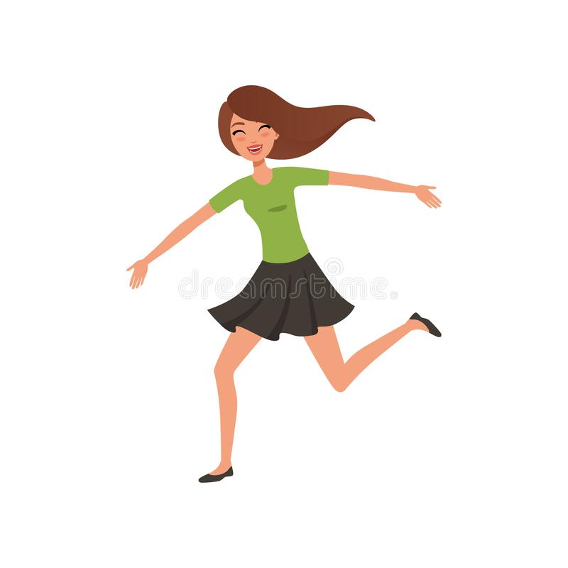 Happy brunette girl running jumping with wide open arms. Young woman with joyful face expression. Flat vector design royalty free illustration
