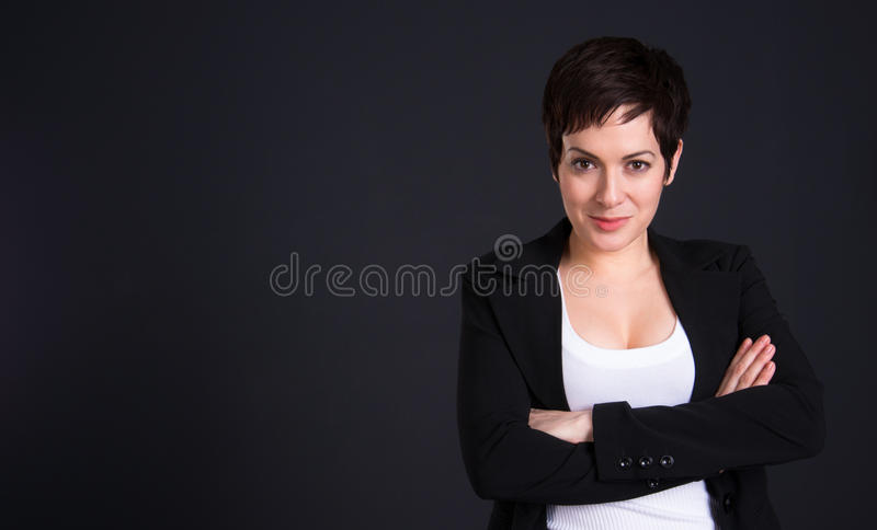 Happy Brunette Woman Draws Attention Business Female Office royalty free stock photos