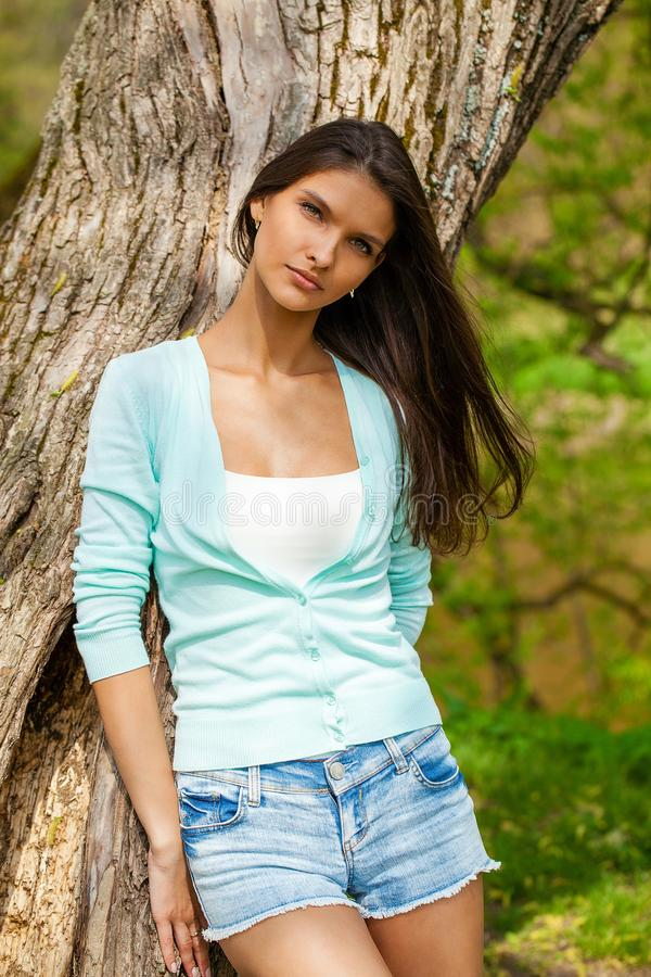 Happy brunette woman royalty free stock images