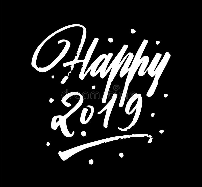 Happy 2019 brush pen lettering calligraphy stock illustration