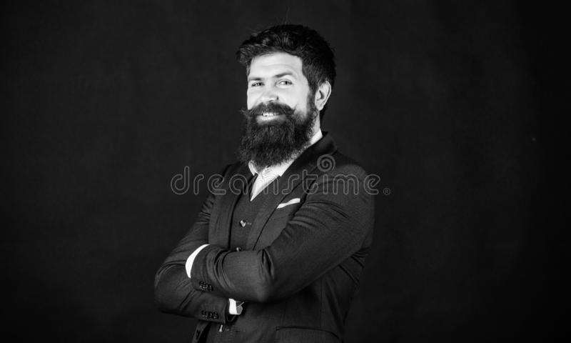 Happy brutal caucasian hipster with moustache. Male formal fashion. Stylish event manager. Businessman in suit. happy. Mature hipster with beard. event manager royalty free stock image