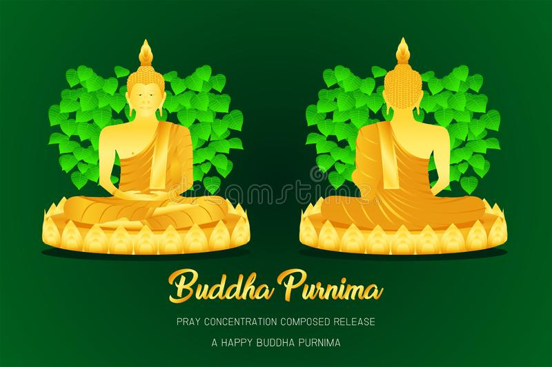 Happy buddha purnima monk phra buddha front - back view pray concentration composed release pho leaf religion culture faith. Happy buddha purnima monk phra stock illustration