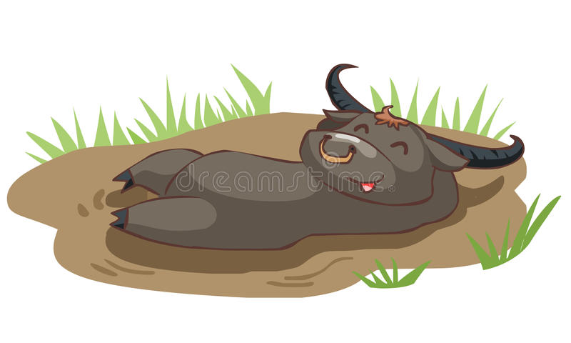 Happy buffalo take a bath in mud stock illustration