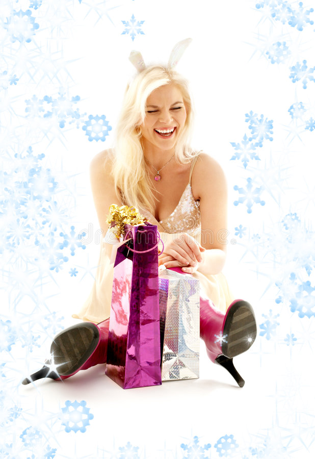 Happy Bunny Girl With Snowflakes Royalty Free Stock Photo