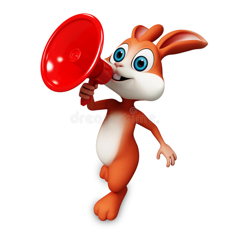 Happy bunny with loudspeaker royalty free illustration