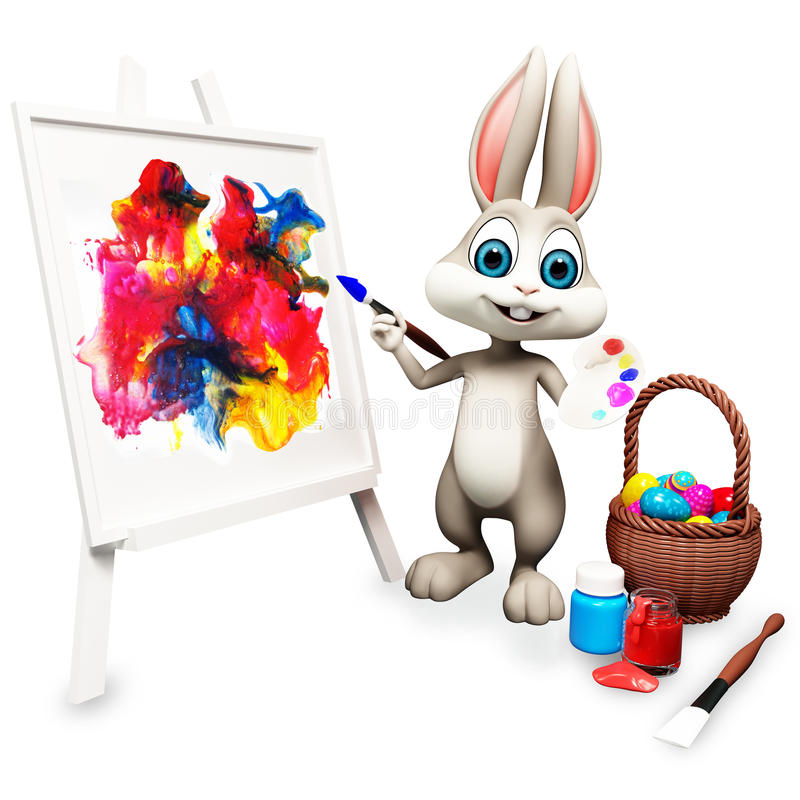 Happy bunny is painting royalty free illustration