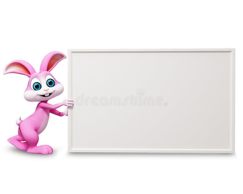 Happy bunny pushing big sign stock illustration