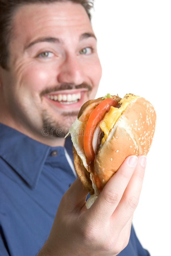 Download Happy Burger Man stock photo. Image of lunch, eating, people - 2641970