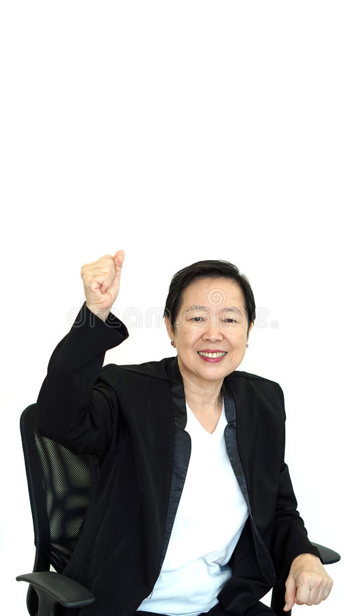 Happy business asian woman manager success thumb up on white iso stock images