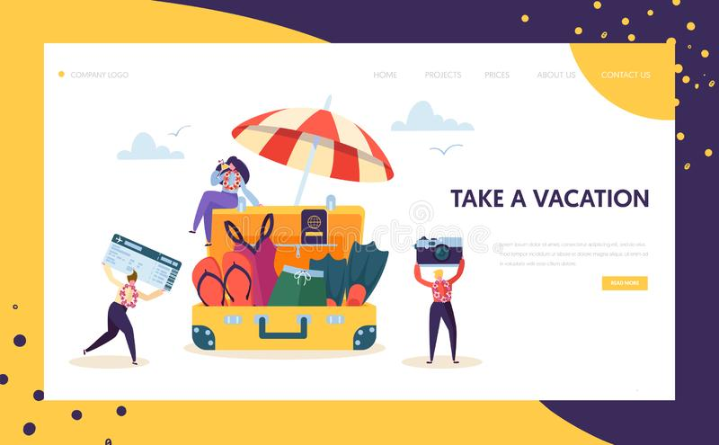 Happy Business Characters Pack for Vacation Landing Page. Office Workers Moving to Beach Travel Holding Camera vector illustration
