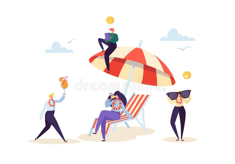 Happy Business Characters Relaxing on Beach Vacation. Office Workers People on Tropical Resort with Cocktail. Freelancer royalty free illustration