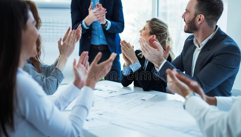 Business colleagues celebrating successful business year royalty free stock photos