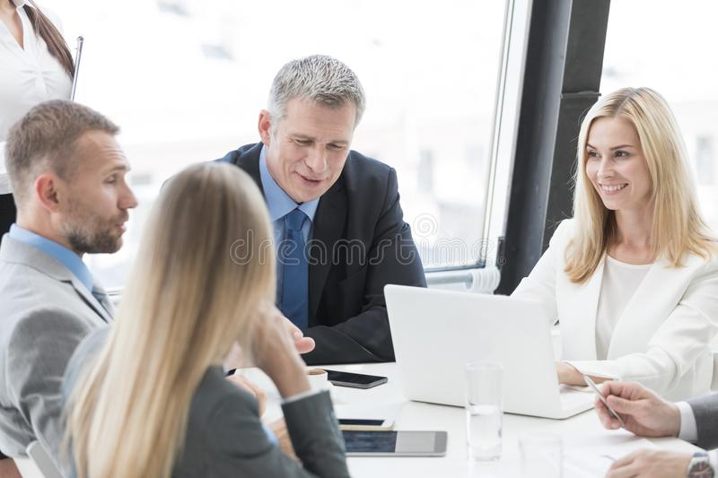 Happy business group at meeting royalty free stock image