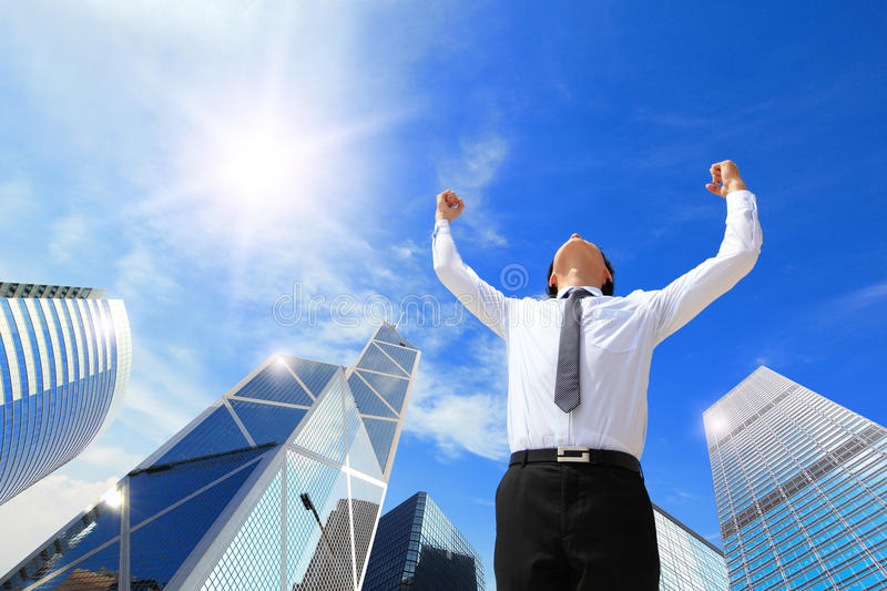 Download Happy Business Man Arise Arms Stock Image - Image: 34843969