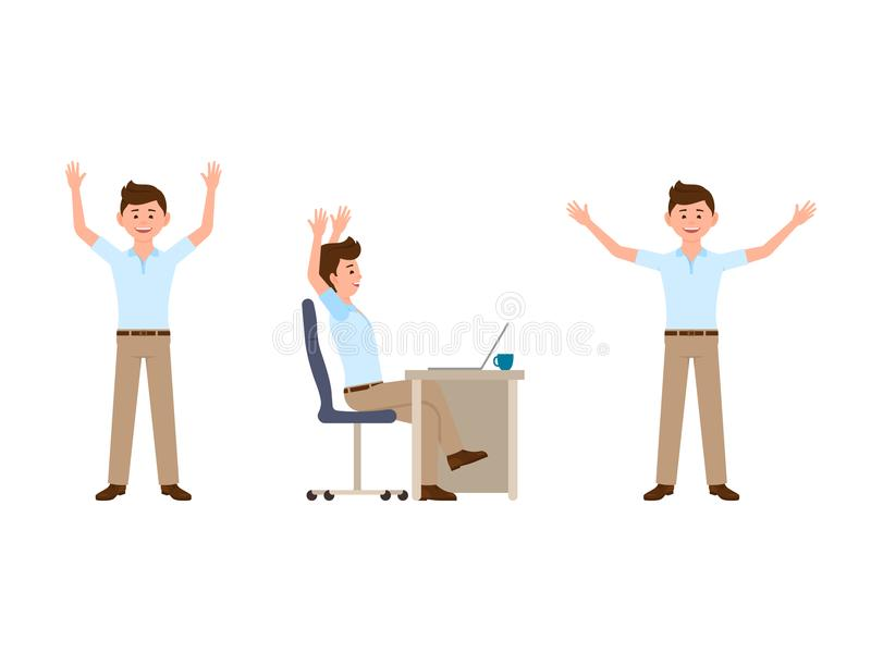 Happy business man cartoon character. Vector illustration of funny manager. stock illustration